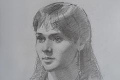 Портрет Вики. б.,карандаш. 2019 г. 40х30