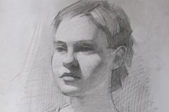 Портрет студентки Насти. б.,карандаш. 2014 г. 42х29,7